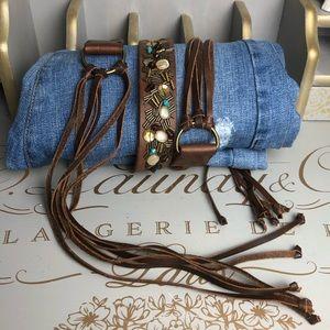 Hollister leather beaded hobo belt